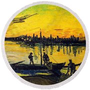 Stevedores In Arles Round Beach Towel