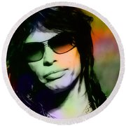 Steven Tyler Round Beach Towel by Marvin Blaine