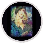 Stevie Nicks - Beret Round Beach Towel by Absinthe Art By Michelle LeAnn Scott