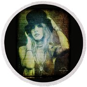 Stevie Nicks - Bohemian Round Beach Towel by Absinthe Art By Michelle LeAnn Scott
