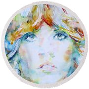 Stevie Nicks - Watercolor Portrait Round Beach Towel by Fabrizio Cassetta