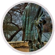 Stevie Ray Vaughan Statue With Texture Round Beach Towel