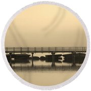 Round Beach Towel featuring the photograph Still Lake by Clare Bevan