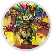 Still Life For Venus Round Beach Towel