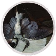 Still-life Heron With Spread Wings, 1867 Oil On Canvas Round Beach Towel