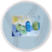 Round Beach Towel featuring the painting Still Life In Blue And Green Pottery by Greta Corens