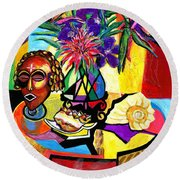 Still Life With Mask-florals And Sea Shell Round Beach Towel by Everett Spruill