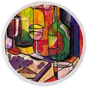 Still Life Of Fruit Wine And Cheese Round Beach Towel