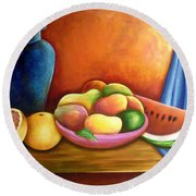 Still Life Of Fruits Round Beach Towel