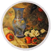 Still Life Of Persimmons  Round Beach Towel