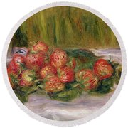 Still Life Of Strawberries And A Tea Cup Round Beach Towel by Pierre Auguste Renoir