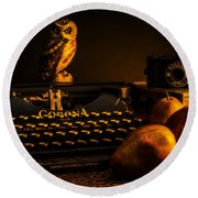 Still Life - Pears And Typewriter Round Beach Towel