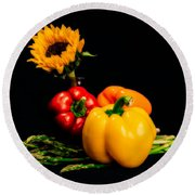 Still Life Peppers Asparagus Sunflower Round Beach Towel by Jon Woodhams