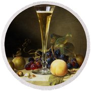 Still Life With A Glass Of Champagne Round Beach Towel