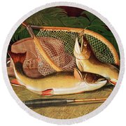 Still Life With A Salmon Trout, A Rod And A Net Round Beach Towel