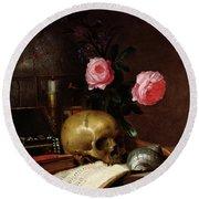 Still Life With A Skull Oil On Canvas Round Beach Towel