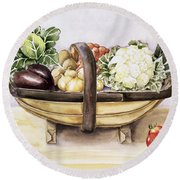 Still Life With A Trug Of Vegetables Round Beach Towel by Alison Cooper