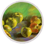 Still Life With Apples And Pears Round Beach Towel