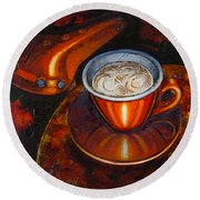Round Beach Towel featuring the painting Still Life With Bicycle Saddle by Mark Howard Jones