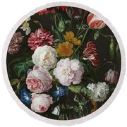Still Life With Fowers In Glass Vase Round Beach Towel