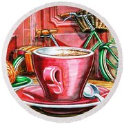 Round Beach Towel featuring the painting Still Life With Green Dutch Bike by Mark Howard Jones