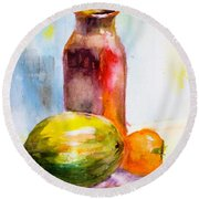 Still Life With Jug And Fruit Round Beach Towel