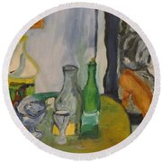 Still Life  With Lamps Round Beach Towel
