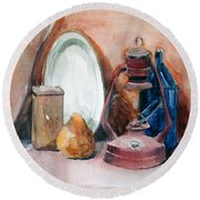 Round Beach Towel featuring the painting Still Life With Miners Lamp by Greta Corens
