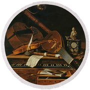 Still Life With Musical Instruments Round Beach Towel