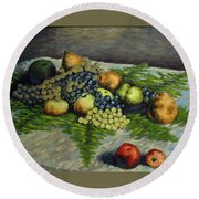 Still Life With Pears And Grapes Round Beach Towel