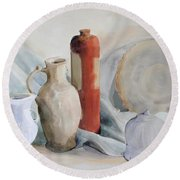 Watercolor Still Life With Pottery And Stone Round Beach Towel