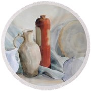 Still Life With Pottery And Stone Round Beach Towel