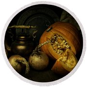 Still Life With Pumpkin And Onions Round Beach Towel