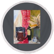 Round Beach Towel featuring the painting Still Life With Red Cloth And Pottery by Greta Corens
