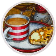 Round Beach Towel featuring the painting Still Life With Red Touring Bike by Mark Howard Jones