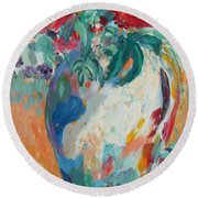 Round Beach Towel featuring the painting Still Life With Roses Partial View by Avonelle Kelsey