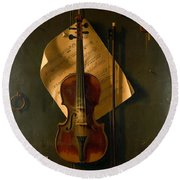 Still Life With Violin Round Beach Towel by Padre Art