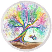 Still More Rainbow Tree Dreams Round Beach Towel