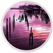 Round Beach Towel featuring the photograph Still Water Dusk 2 by Wallaroo Images
