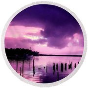 Round Beach Towel featuring the photograph Still Water Dusk by Wallaroo Images