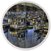 Round Beach Towel featuring the photograph Still Water Masts by Jean OKeeffe Macro Abundance Art