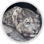 Round Beach Towel featuring the painting Stillnes Like A Stone by Pat Erickson