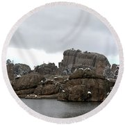 Sylvan Lake In October Round Beach Towel by Clarice  Lakota