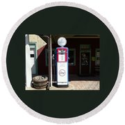 Old Stillwater Garage And General Store  New Jersey And Esso Gas Pump Round Beach Towel by Carol Wisniewski