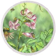 Stinging Insects In Garden Scene Round Beach Towel