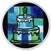 Stl250 Birthday Cake Blue And Green Small Abstract Round Beach Towel by Genevieve Esson
