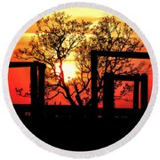 Stockyard Sunset Round Beach Towel