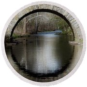 Stone Arch Bridge - Craquelure Texture Round Beach Towel