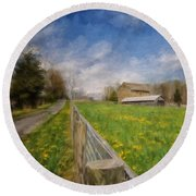 Stone Barn On A Spring Morning Round Beach Towel