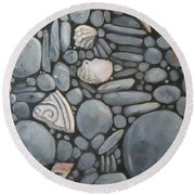 Stone Beach Keepsake Rocky Beach Shells And Stones Round Beach Towel